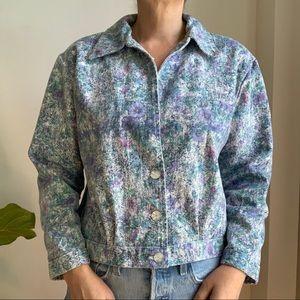 Vtg Hand Made Jacket Cotton Blend Floral Blue 8